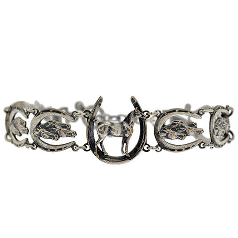 Victorian Silver Plated Horse & Horseshoe Link Bracelet