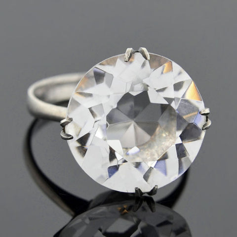 Late Art Deco Silver Rock Quartz Crystal Solitaire Ring