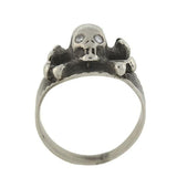 Vintage Sterling Silver Diamond Skull + Crossbones Ring