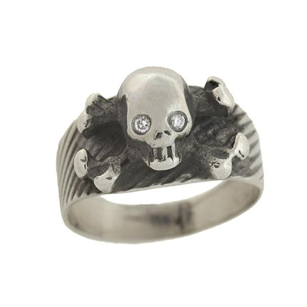 Vintage Sterling Silver Diamond Skull Crossbones Ring A Brandt Son