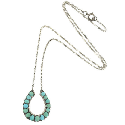 Victorian 10kt & Sterling Turquoise Horseshoe Necklace