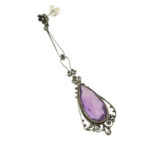 Art Deco Long Sterling Amethyst Filigree Earrings