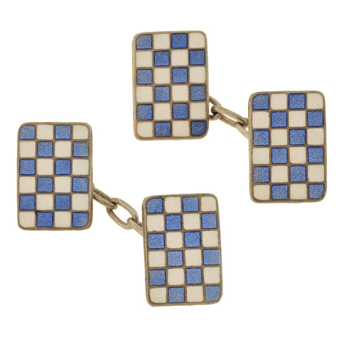 Art Deco Silver Enameled Blue/White Checkerboard Cufflinks