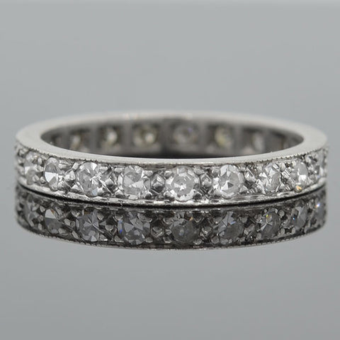 Art Deco Platinum Single Cut Diamonds Eternity Band 0.70ctw