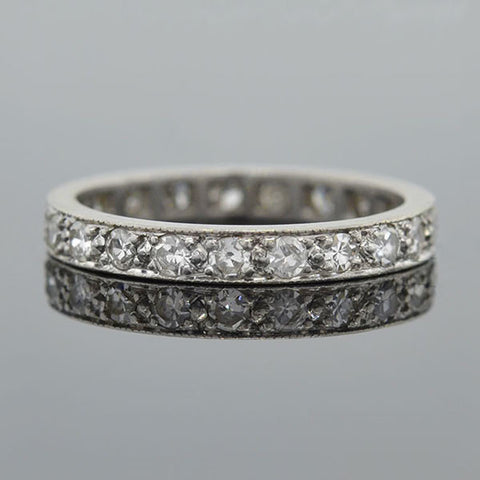Art Deco Platinum Diamond & Sapphire Eternity Band