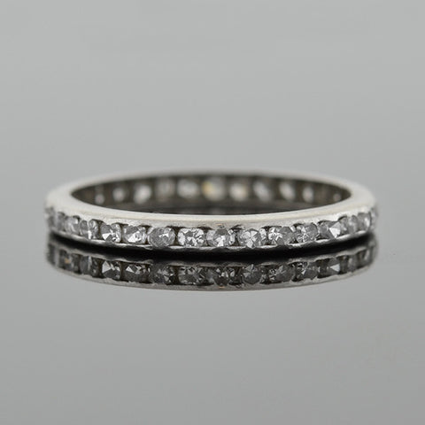 Art Deco Platinum Single Cut Diamond Eternity Band 0.52ctw