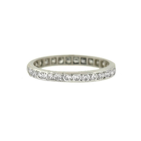 Edwardian Platinum Single Cut Diamond Eternity Band 0.80ctw