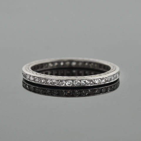 Art Deco Platinum Single Cut Diamond Eternity Band 0.80ctw