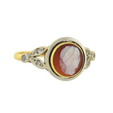 Victorian 15kt Cameo & Rose Cut Diamond Ring