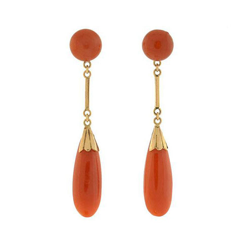 Retro 14kt Natural Coral Drop Earrings