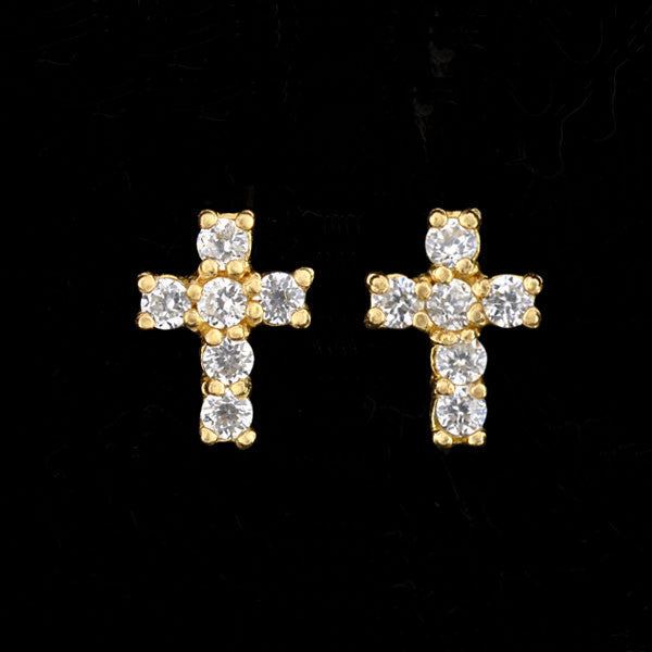 Estate Petite 14kt Diamond Cross Stud Earrings