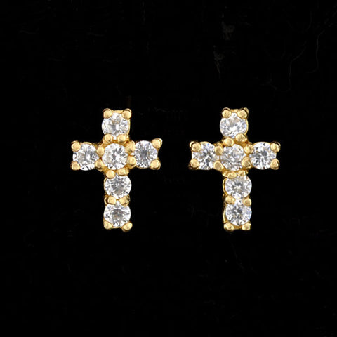 Estate 14kt & Pave Diamond Heart Stud Earrings