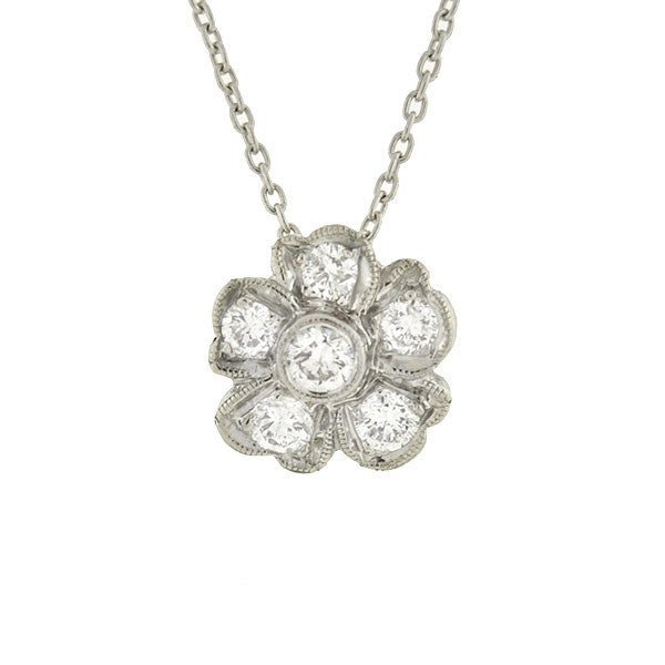 Late Art Deco 18kt Diamond Flower Necklace