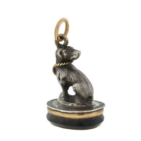 Victorian 15kt/Sterling Dog Fob with Onyx Seal