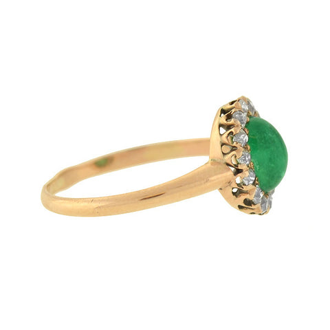 Art Deco Russian Petite 14kt Emerald Diamond Cluster Ring
