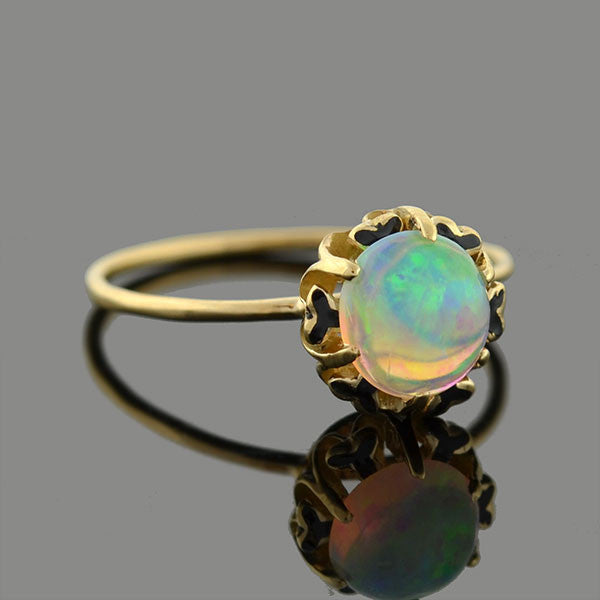 Late Victorian 10kt Opal & Enamel Conversion Ring