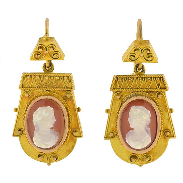 Victorian 14kt Carved Sardonyx Cameo Earrings