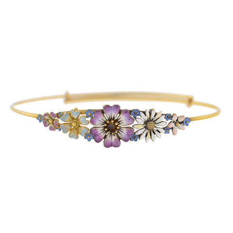 Victorian 14kt Yellow Gold & Enameled Flower Bracelet