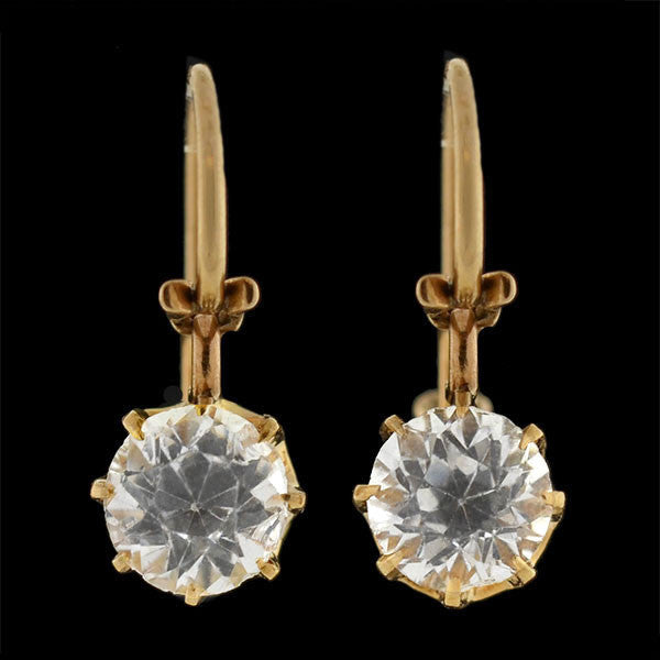 Victorian 14kt Gold & French Paste Earrings