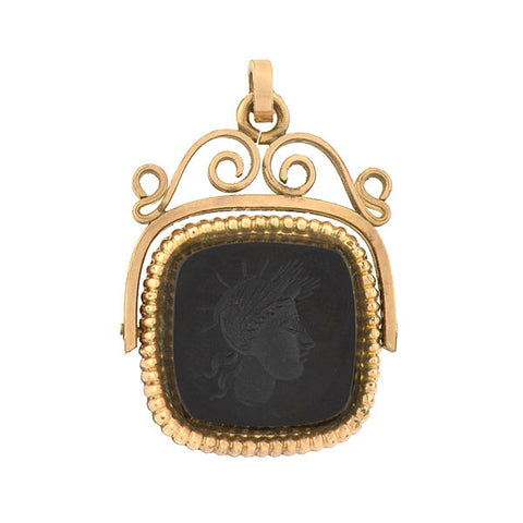 Victorian Gold Filled Onyx Intaglio Spinner Fob
