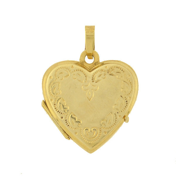 Estate German 14kt Etched Heart Locket