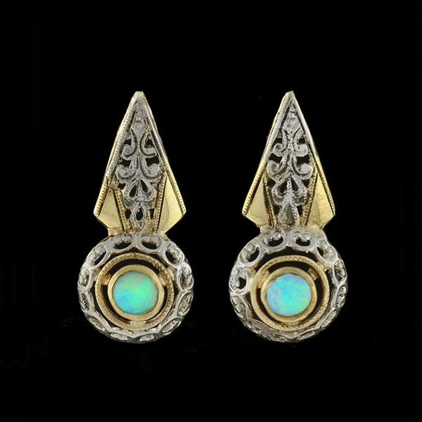 Art Deco Sterling Gilt & Opal Filigree Earrings