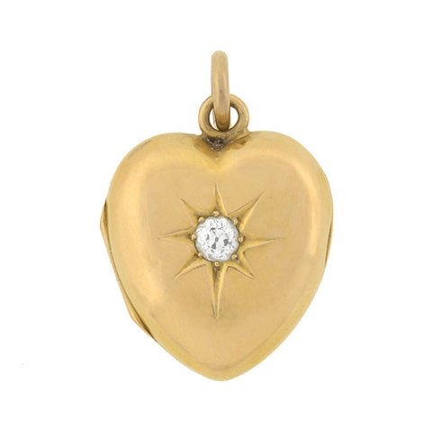 Victorian 14kt Diamond Starburst Puffy Heart Locket