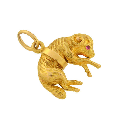 Edwardian French 18kt Gold Ruby Ram Charm