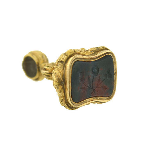 Victorian Petite Gold-Filled Bloodstone Floral Intaglio Fob