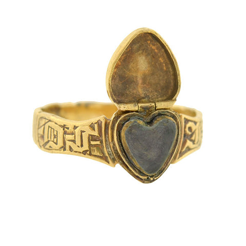Victorian English 15kt Heart Shaped Locket Ring