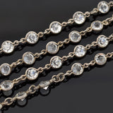 Art Deco Sterling Silver & Crystal Necklace 28.5