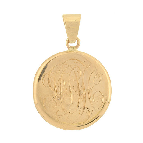 Victorian 14kt Gold Etched Floral Motif Locket