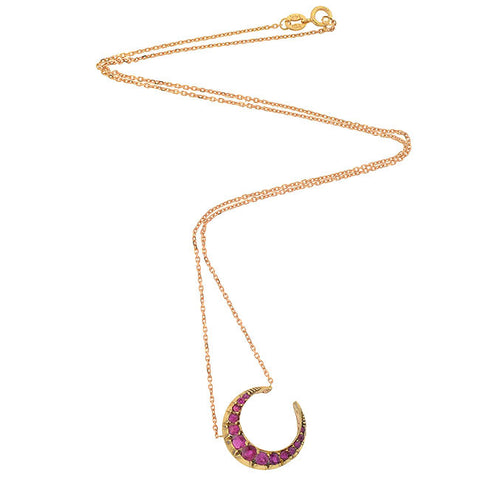 Victorian 14kt Ruby Crescent Necklace