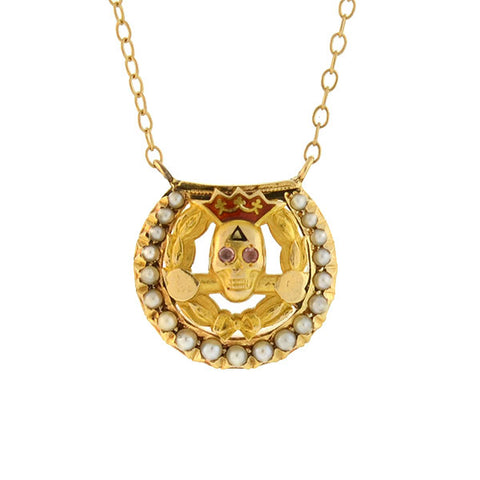 Early Retro 14kt Gold Pearl Enameled Skull Necklace