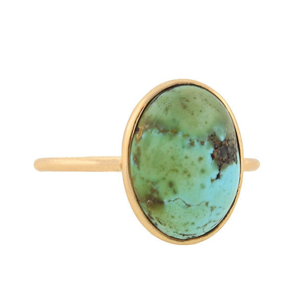 Victorian 14kt Turquoise Cabochon Ring