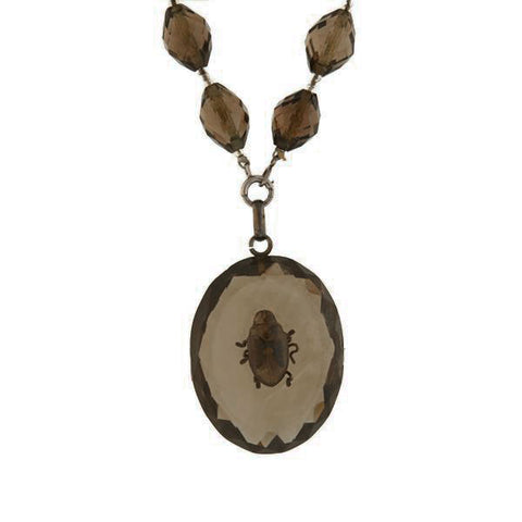 Victorian Carved Smoky Topaz Beetle Pendant Necklace