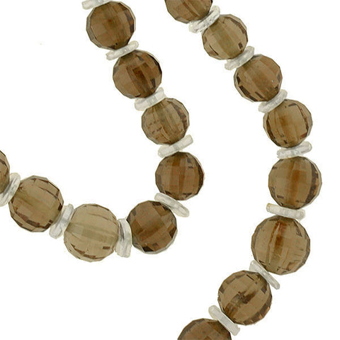 Art Deco Smoky Topaz & Rock Quartz Crystal Faceted Bead Necklace
