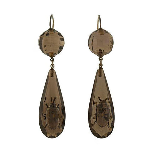 Victorian Sterling Smoky Topaz Beetle Earrings