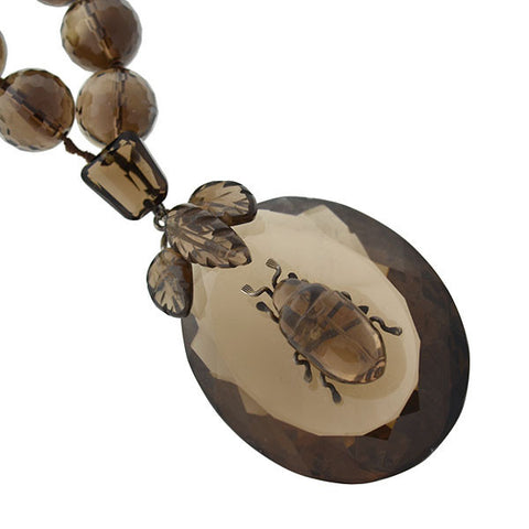 Victorian Smokey Topaz Quartz Beetle Necklace