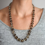 Art Deco Smoky Topaz + Rock Quartz Crystal Faceted Bead Necklace