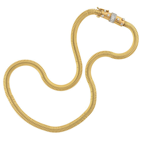 Retro 14kt Snake Chain Choker Necklace with Diamond Clasp 16""