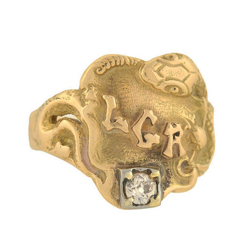Victorian 9kt Gold Buckle Diamond Ring