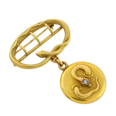 Victorian 14kt Diamond Snake Locket & Pin