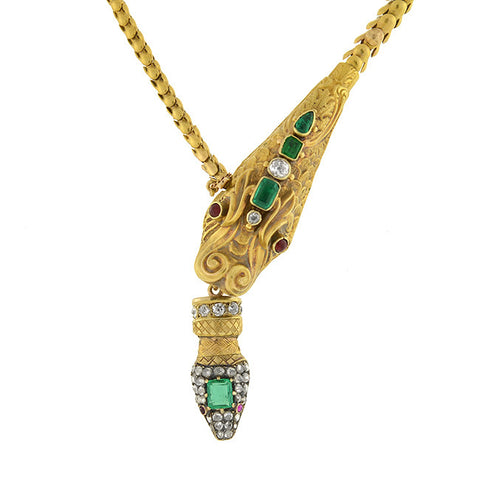 Victorian 18kt Multi Gemstone Dragon & Snake Necklace