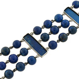 Art Deco German Sterling Carved Sodalite Beaded Link Bracelet