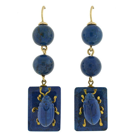 Victorian 10kt Carved Sodalite Bug Earrings