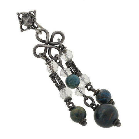 Arts & Crafts Sterling Sodalite & Rock Crystal Chandelier Earrings