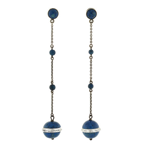Art Deco Sterling Sodalite & Rock Quartz Crystal Drop Earrings