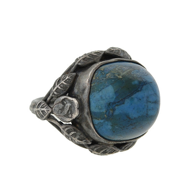 Arts & Crafts Silver Sodalite Stone & Leaf Ring