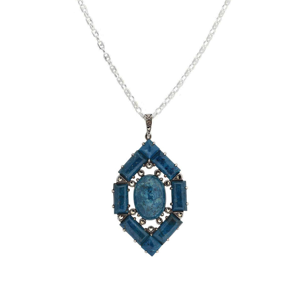 WACHENHEIMER BROS. Art Deco Sterling Sodalite + Marcasite Pendant Necklace